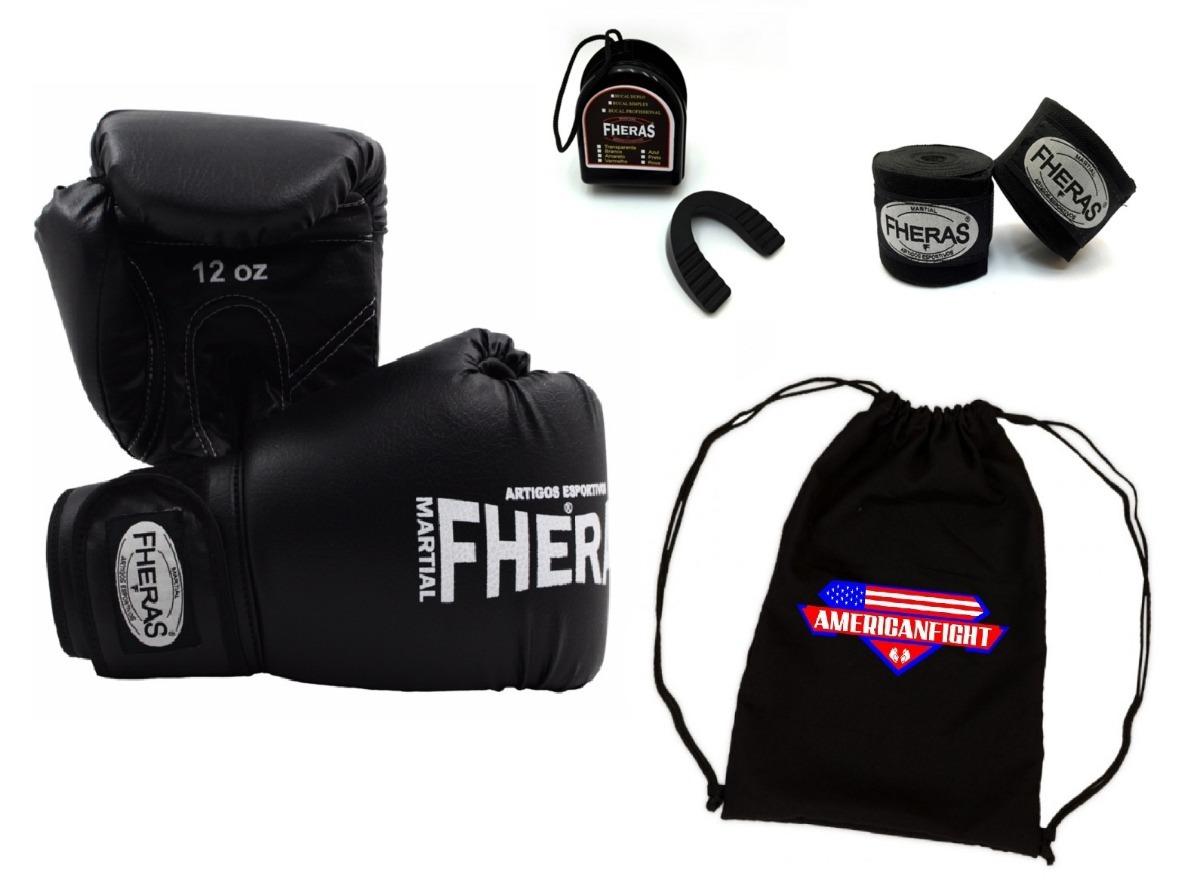 d44aefec5 kit boxe muay thai fheras preto luva bandagem bucal bolsa. Carregando zoom.