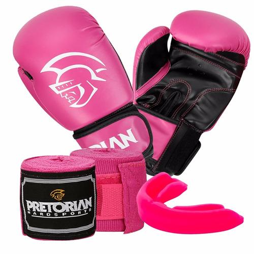 Kit Boxe Muay Thai First Pretorian Bucal Bandagem Luva Rosa - R  118 ... 51843662260e8