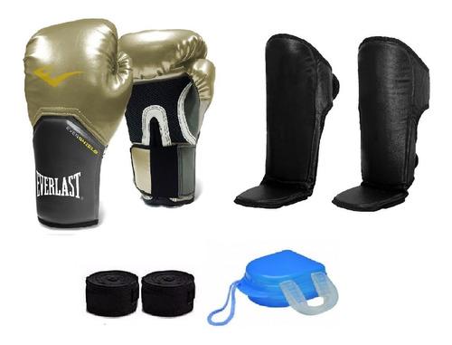 kit boxe muay thai luva  dourada + caneleira + acessórios