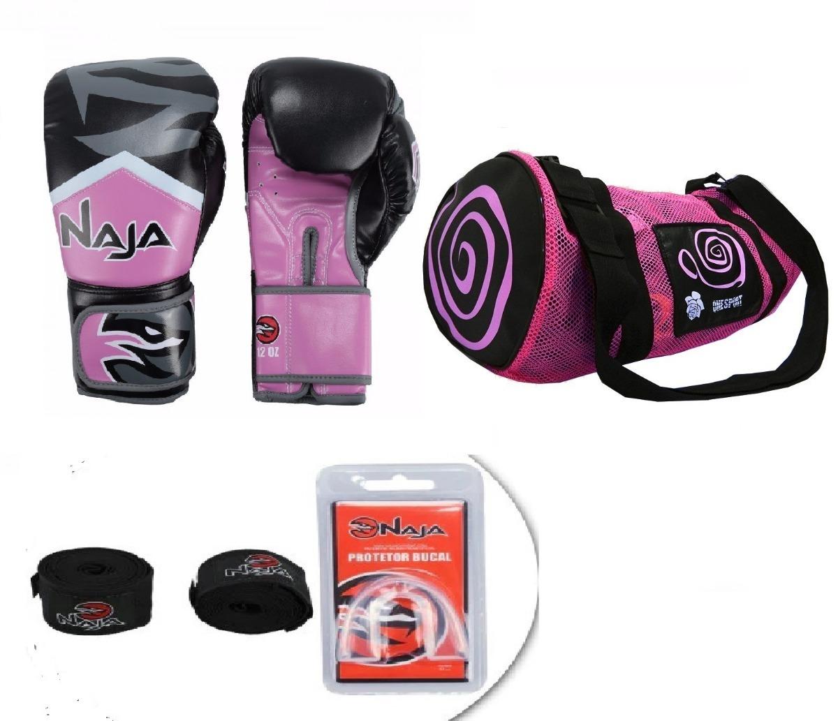 32c0e6aa9 kit boxe muay thai luva naja extreme rosa + bolsa acessórios. Carregando  zoom.