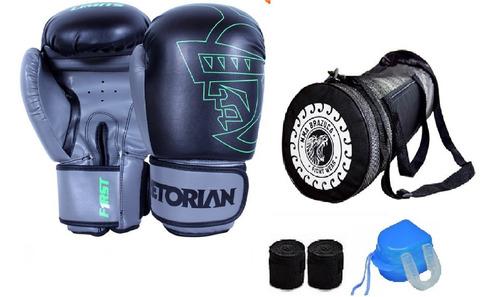 kit boxe muay thai luva pretorian+ bolsa acessórios