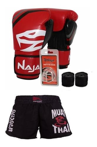 kit boxe muay thai start a luva + short + acessórios