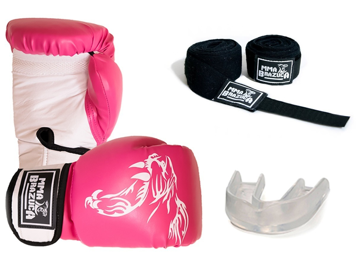 kit boxe  muaythai - feminio - pink - luva + band + bucal. Carregando zoom. 4510a95557eb2