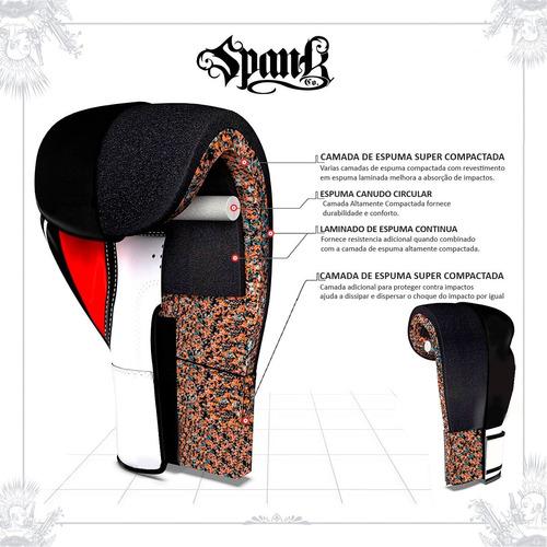 kit boxe spank preto (luva, bandagem, bucal)