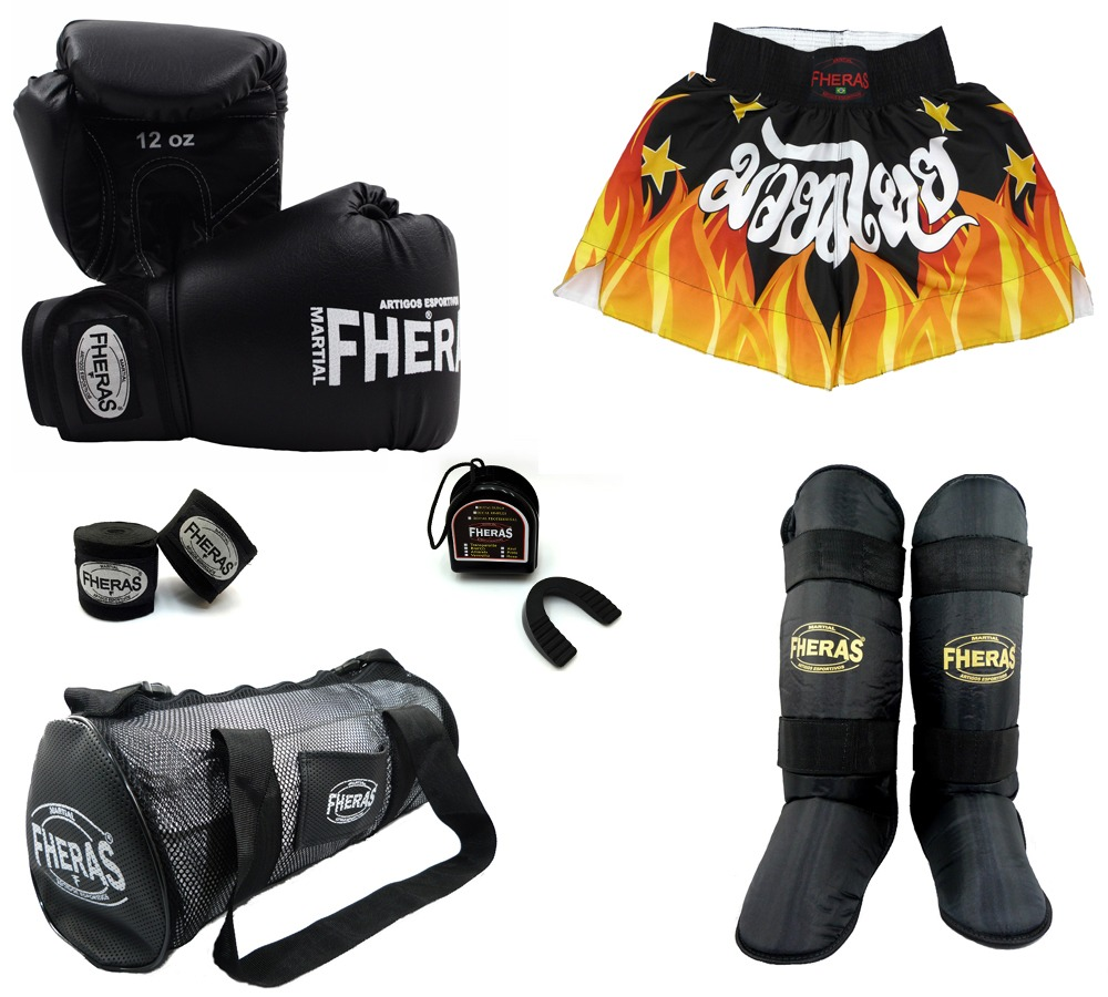 eca627ee6 kit boxe trad -luva bandagem bucal caneleira bolsa shorts- 1. Carregando  zoom.