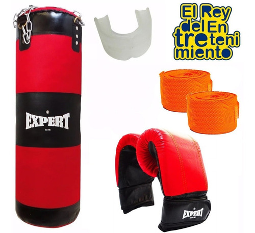 kit boxeo bolsa completa + guantes + bucal + vendas - el rey