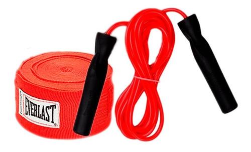 kit boxeo everlast : par de vendas 3,05 mts + soga rulemanes