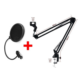 Kit Braço Articulado C/ 80 Cm P/ Microfone + Pop Filter