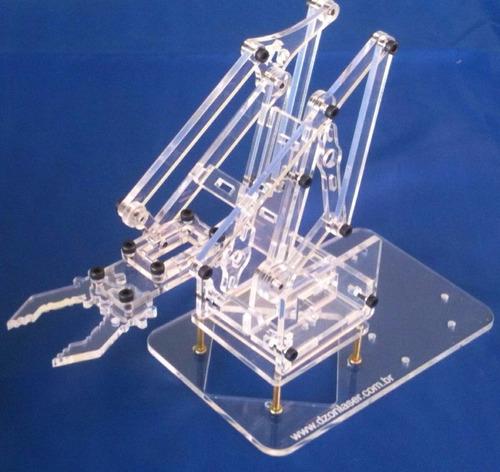 kit braço robótico acrílico arduino robótica educacional pic