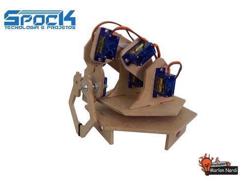 kit braço robótico arduino robótica educacional didático pic