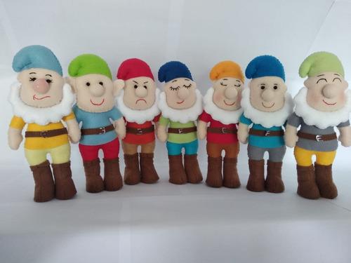 kit branca de neve e os 7 anões em feltro 8 unidades