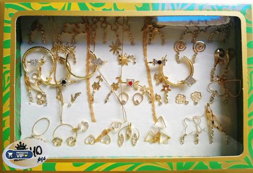 kit brinco anel folheados semi joias na caixa atacado