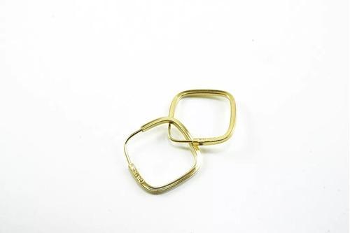 kit brinco ouro 18k argola coração + argola quadrada kcq0070