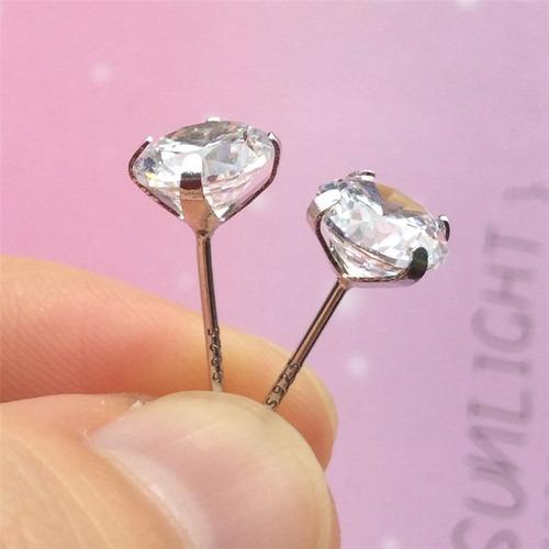 kit brinco prata 925 zirconias p/ 4 furos 2mm 3mm 4mm 5mm