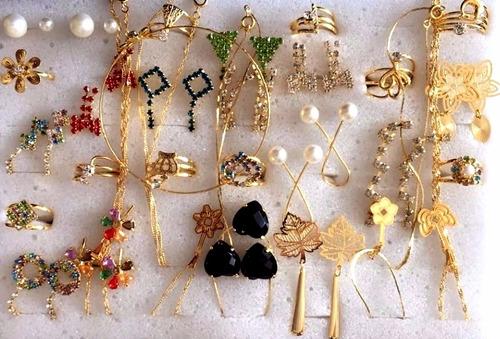 kit brincos aneis 40 peças semi-jóias folheadas atacado