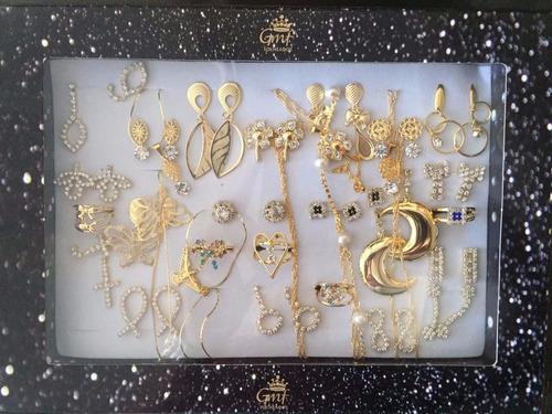 kit brincos pulseiras 30 peças semi-jóias folheadas atacado