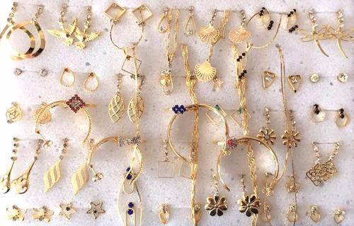kit brincos pulseiras 40 peças semi-jóias folheadas ref01