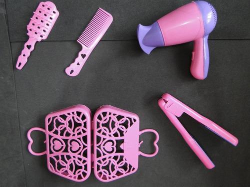 kit brinquedo secador chapinha bolsa pente escova pia