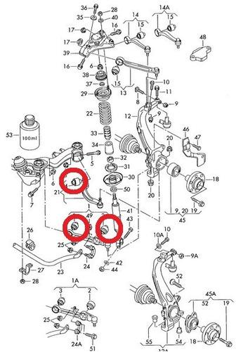 kit buchas dos braços inferiores audi a4 1.8 turbo 96-00
