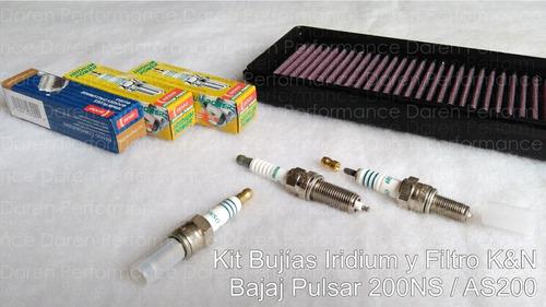 kit bujias iridium filtro k&n pulsar 200 ns kyn kn racing