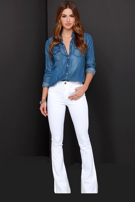 29dfe5970 ... calça flare jeans sarja cintura alta mulher+brinde. Carregando zoom.