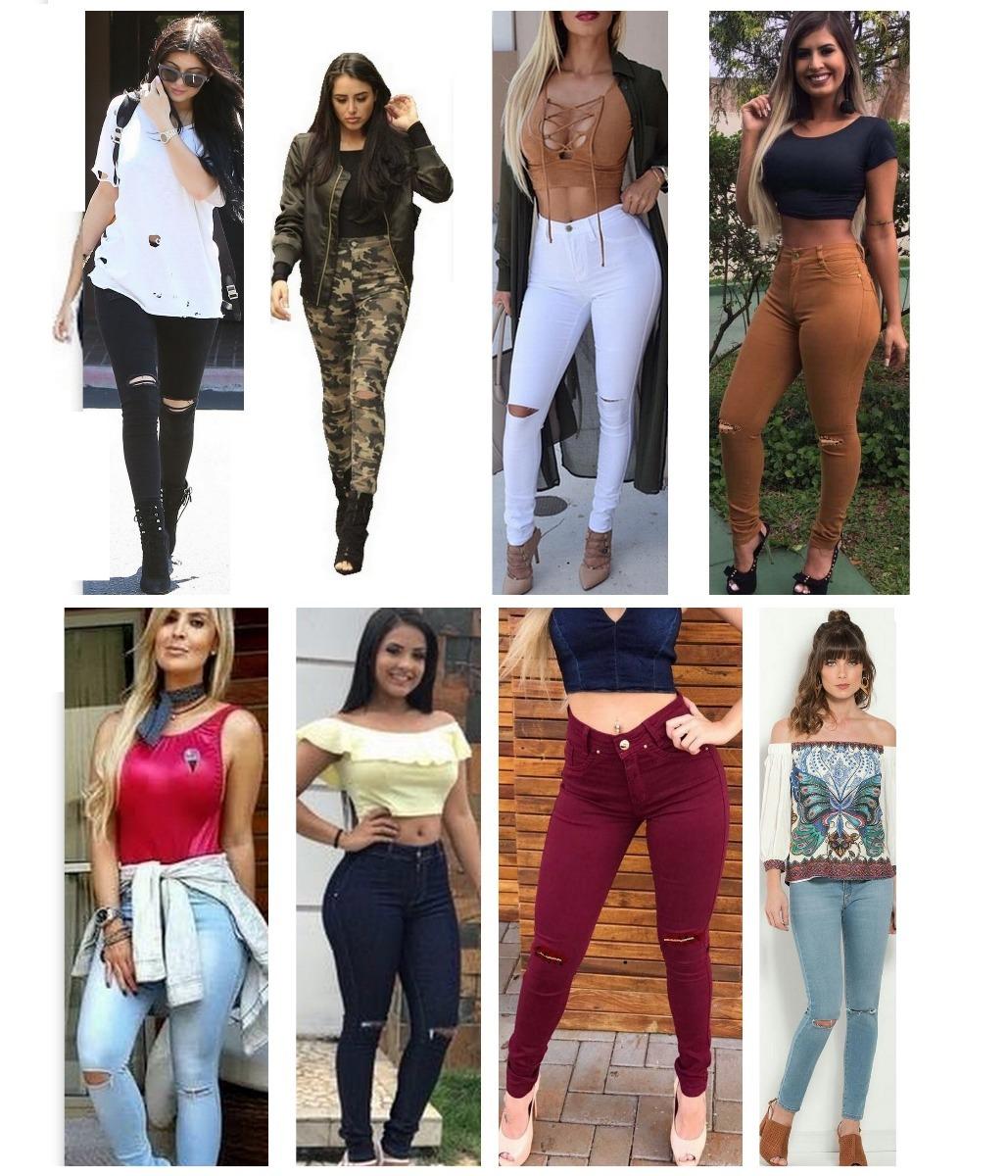 e78bef8cf Kit C  02 Calça Jeans Cintura Alta Rasgada N Joelho Feminina - R ...