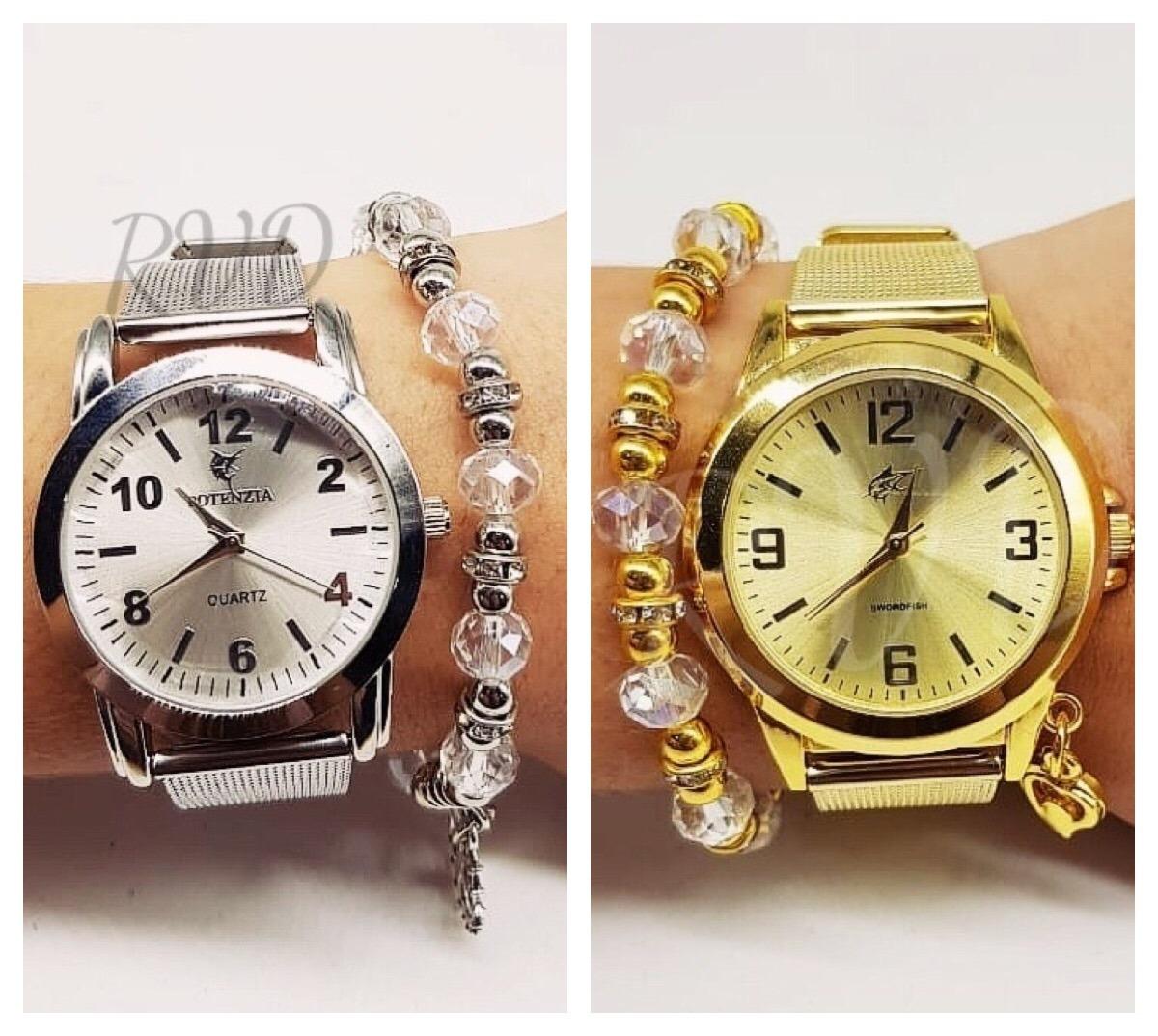 6fe1a2b0ac5 Kit C  02 Relógios Feminino Esporte Fino + Pulseiras + Caixa - R  76 ...