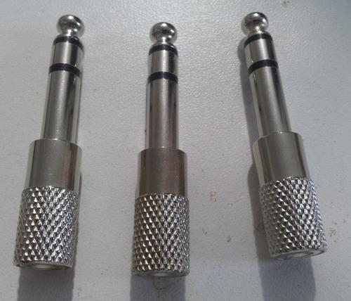 kit c/ 03 plug adaptador p2 / p10 stereo metal