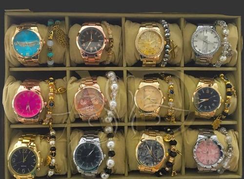 kit c/ 05 relógio feminino e 5 masculino + bateria + caixa