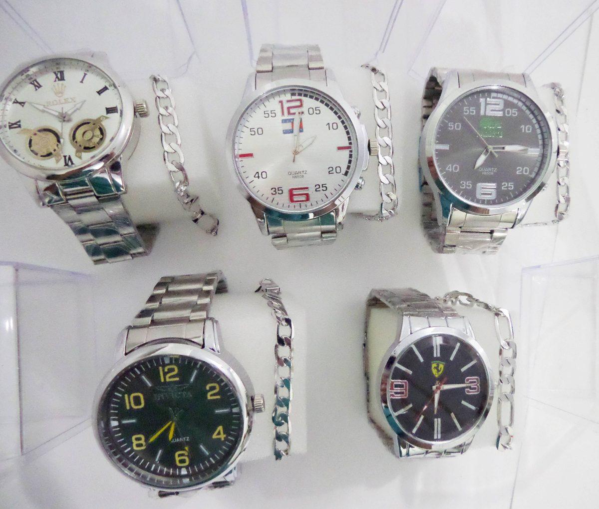 970dcdf53f0 ... relógios masculinos+ 05 pulseiras aço inox atacado. Carregando zoom.