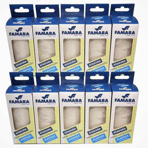 kit c/ 10 bandagem / atadura elastica média compressão famara cor natural 10cm x 1,30m c/ 2 presilhas