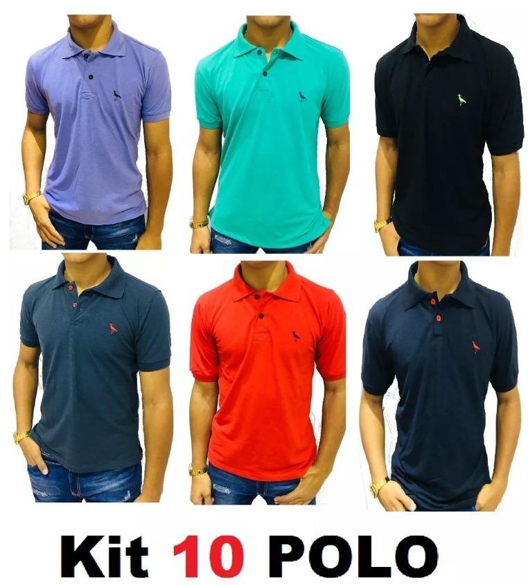 a4a52b9631e3b kit c  10 camisa masculina gola polo algodão piquet ofertas. Carregando zoom .