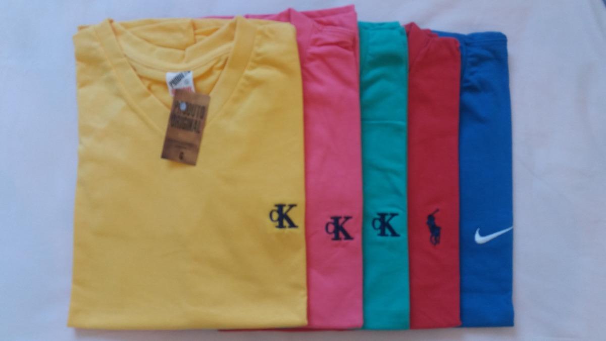 Kit C 10 Camisetas Camisa Simples Marcas Famosas Gola V - R  123 451724e5a84