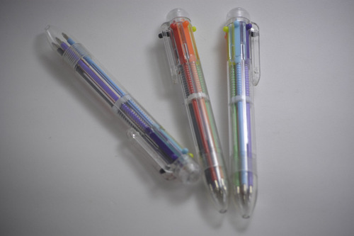 kit c/ 10 caneta esferografica multi cores 6 em 1 nostalgia
