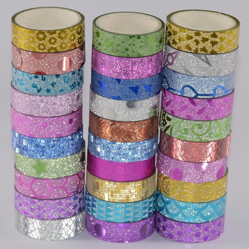 kit c/ 10 fitas adesivas decoradas c/ glitter - washi tape