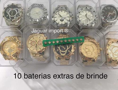 kit c/ 10 relógios masculinos + caixinhas  atacado barato