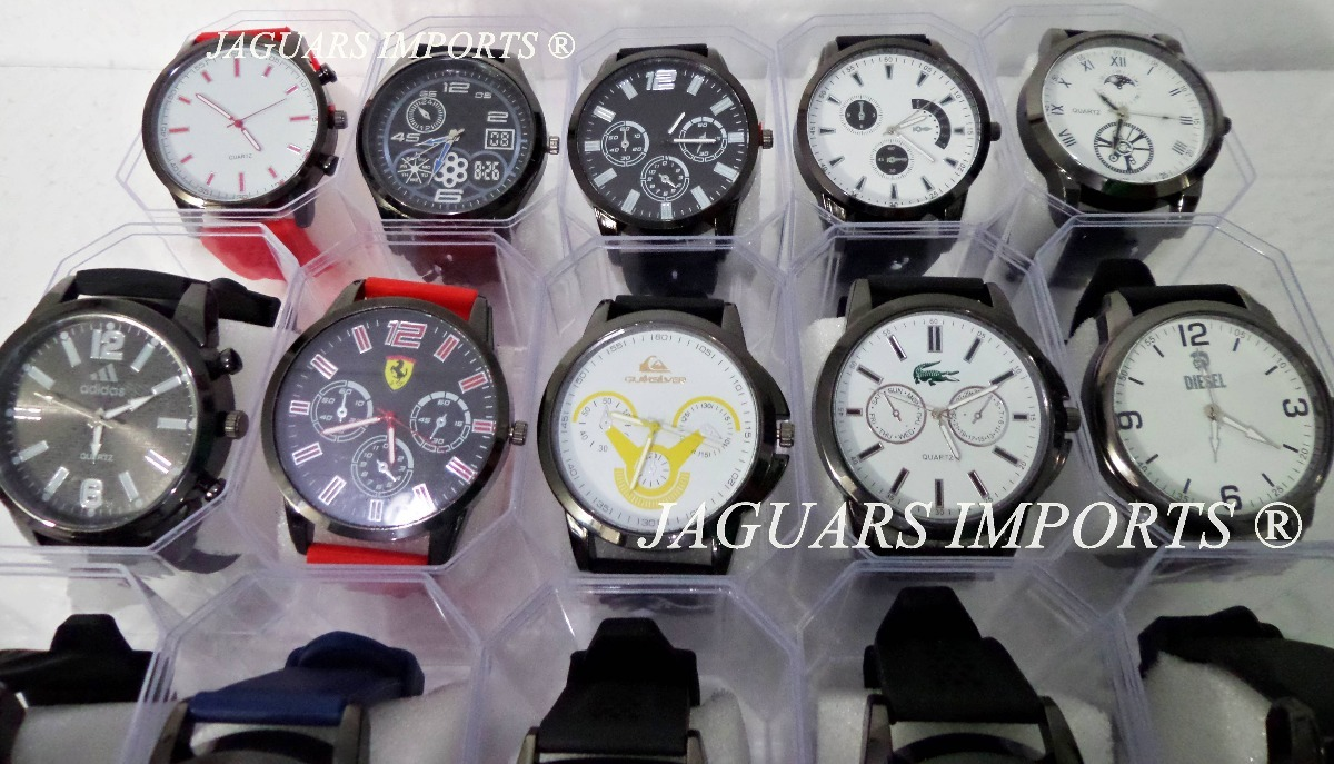 81040b24b66 Kit C  10 Relógios Masculinos + Caixinhas Atacado Revenda - R  130 ...