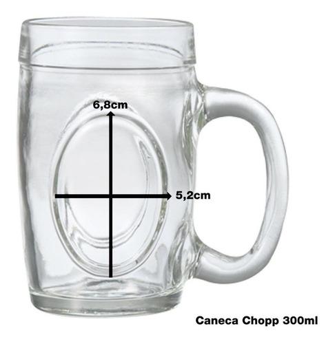 kit c/ 12 caneca chopp vidro 300ml fritz wheaton - luxo