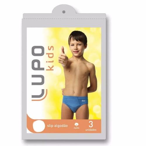 kit c/ 12 cuecas infantil slip lupo 140 089 original criança