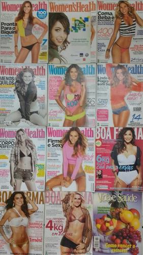 kit c/ 14 revistas womens health (8) boa forma (3) outras(3)