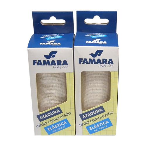kit c/ 2 bandagem / atadura elastica média compressão famara cor natural 10cm x 1,30m c/ presilhas