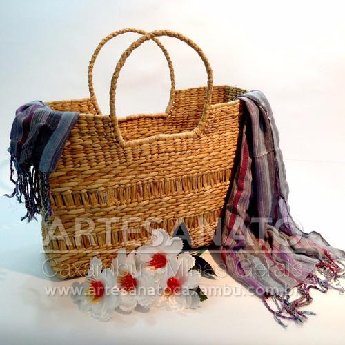 kit c/ 2 bolsas sacolas palha taboa feira praia frete grátis