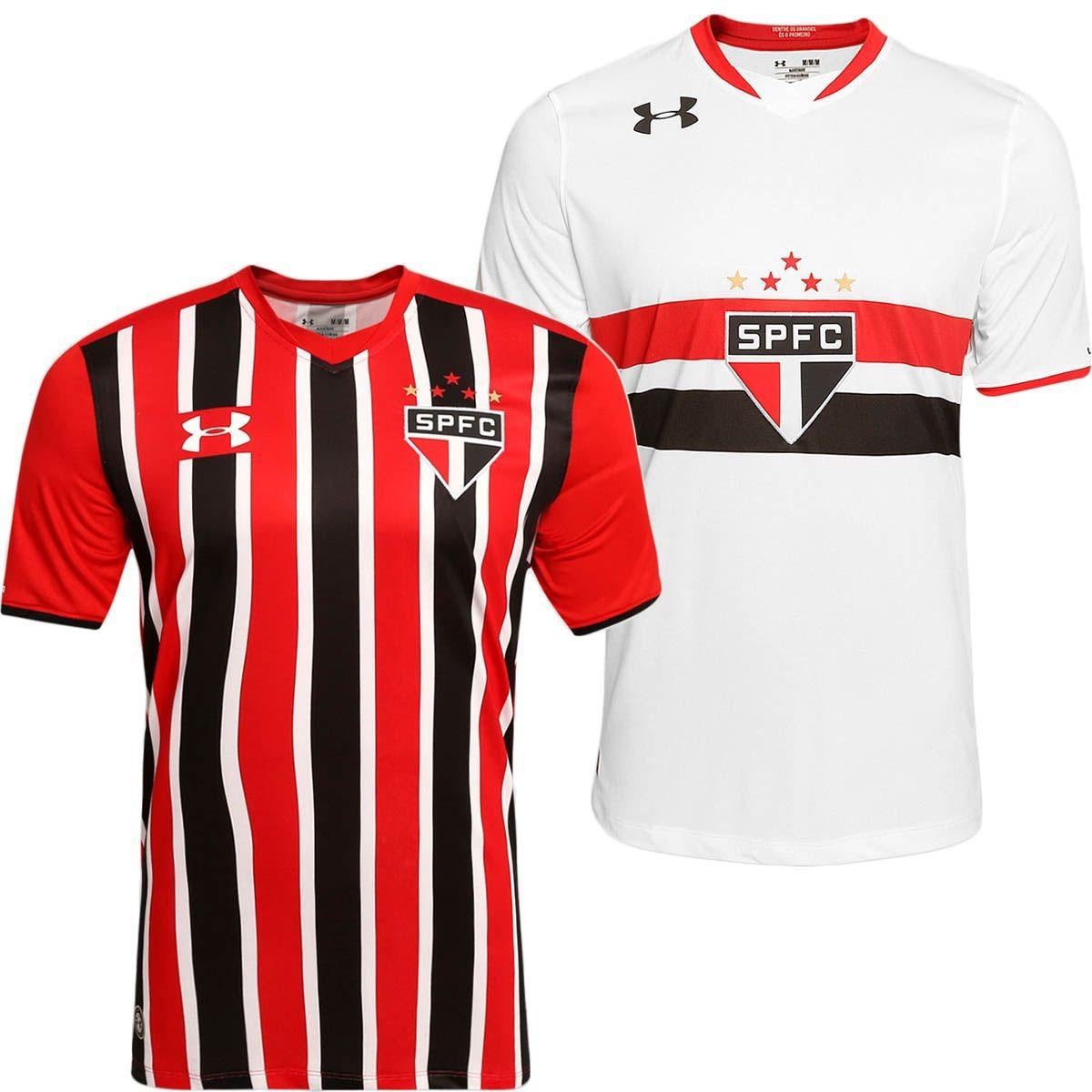 445f1707d46 Kit C  2 Camisas São Paulo Under Armor 1 E 2 15 16 S nº Orig - R ...