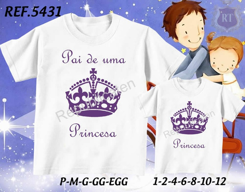 kit c/ 2 camisetas tal pai tal filho(a) coroa - dia dos pais