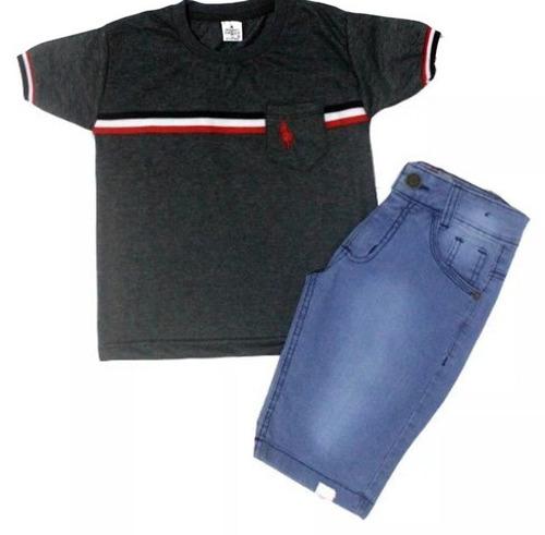 kit c 2 conjuntos masculino menino camiseta e bermuda jeans