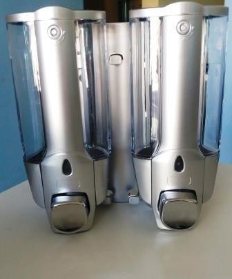kit c / 2 dispensador doble para shampoo color plata - p / p