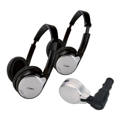 kit c/ 2 fones de ouvido sem fio c/ transmissor fm cv870