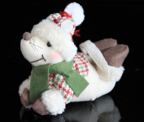 kit c 2 ursinhos pelúcia ratinho enfeite de natal decoração