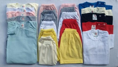 kit c/ 20 body bebê+ mijão+shorts + camiseta bebê - unissex