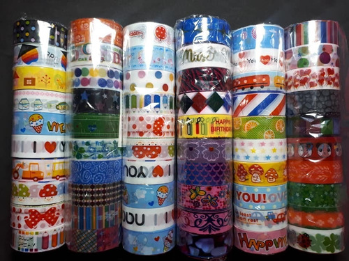 kit c/ 20 fita adesiva decorada deco tape scrapbook planner